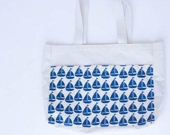Blue Sailboat Tote Bag