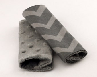 Carseat Strap Covers in Gray Chevron and Gray Minky