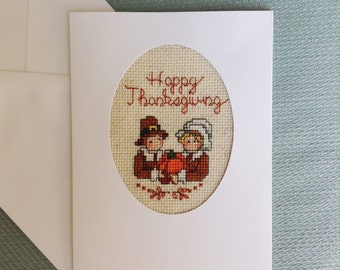 Celebrate with Pumpkin Thanksgiving Cross Stitch Card Handmade