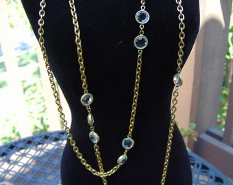 SPECTACULAR! Long Brass Necklace with Bezel Set Swarovski Crystals - Take a look