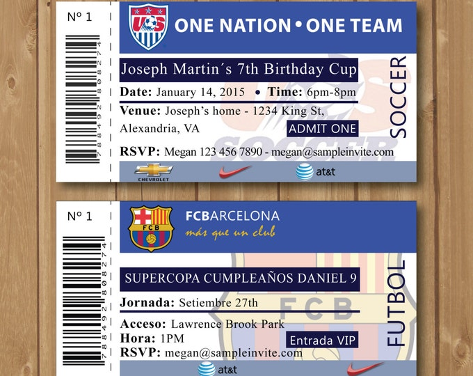 Soccer birthday party invitation. It is perfect for you boys birthday party. It resembles a soccer match ticket.