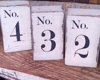Custom Wedding table numbers (set of 5) on salvaged barn wood distressed hand-painted reversible MADE 2 ORDER