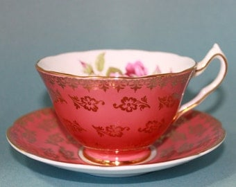 Collingwood's Coral Pink Teacup and Saucer, Stunning Color and Gold Design