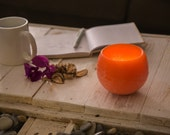 Scented wax candle holder with Orange & Spices fragrance and tea light