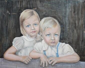 Vintage Bulgarian art oil children portrait oil painting