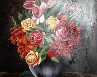 1940 antique Bulgarian art oil still life flowers painting signed