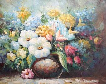 Contemporary European art floral still life oil painting signed
