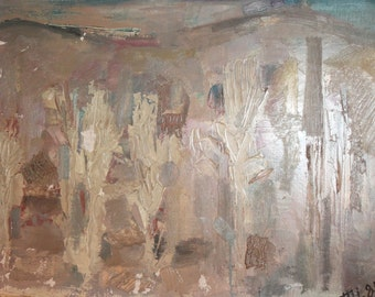 1981 Bulgarian art abstract oil paiting signed