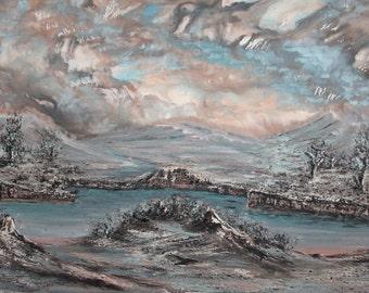 Vintage Bulgarian art winter landscape oil painting