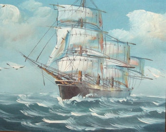 Impressionist art oil painting seascape sailing ship