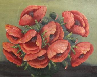 Vintage still life poppy flowers oil painting