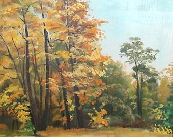 Vintage European art impressionist oil painting  forest landscape
