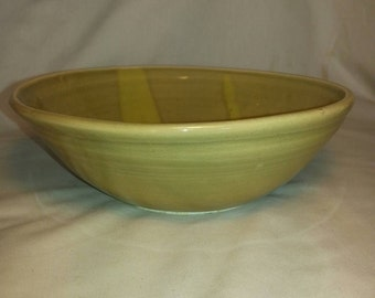 Green ceramic serving bowl