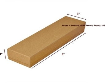 """100 Kraft Brown Cotton Filled Jewelry Packaging Gift Boxes 8"""" x 2"""" x 1"""""""
