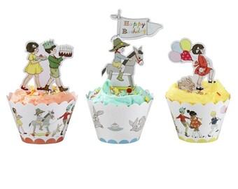 Retro Belle & Boo fairy cake/cupcake wraps. Pack of 24. FREE P+P