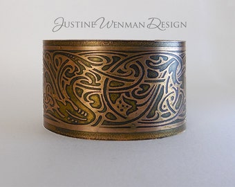 Copper Cuff Etched w/ Viking Motif, Norse, Celtic, Intertwining, Ancient-looking, Runes, Mossy Green, Woman's Bracelet