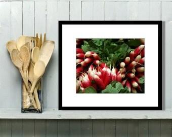 Food Photography, Kitchen Art, Kitchen Decor, Kitchen Wall Art, Home Decor, French, Radish, Market Vegetables, Restaurant Decor