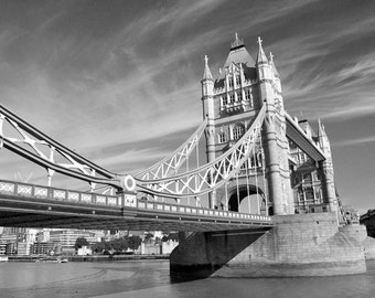 London Photography, Tower Bridge, Black and White, London Print, Travel Photography, England, Europe, London Decor, Wall Art, Matted Print
