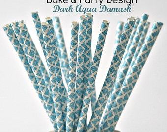 Damask Straws Vintage Dark Aqua straws Party Supplies  Baby Shower Birthday Party Wedding Bridal Shower
