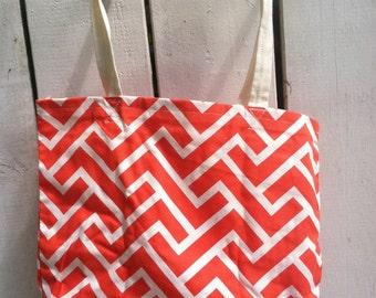 Organic Canvas Mail Bag/Tote Orange Geometric Print