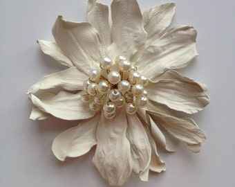 Ivory Leather Flower Brooch