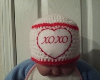 Crochet valentine's  baby hat