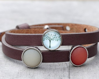 "Leather Bracelet ""Delicate tree"""