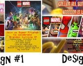 Lego Marvel Super Heroes Personalized Birthday Party Invitation and Thank You Card (Printable)