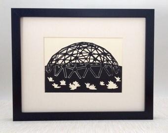 "Retro Playground handmade linocut print 5x7"", unframed (soft white) - printmaking, home decor, wall art, birthday gift, teacher gift"