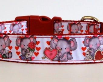 Elephant Valentine Dog Collar - READY TO SHIP!