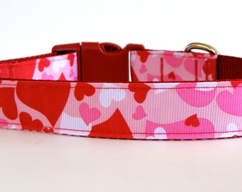 XS Valentine's Day Camo Hearts Dog Collar - Ready to Ship!