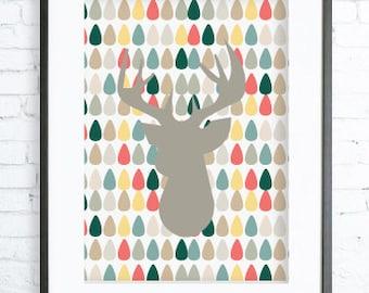 Instant Download Printable, Christmas deer printable art, Print Art, Deer Head Wall Decor, Deer Art Print