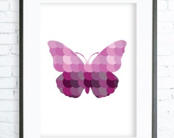 Instant Download Printable, Pink Butterfly Print Art,  modern art, digital art, Print, butterfly art, butterfly print