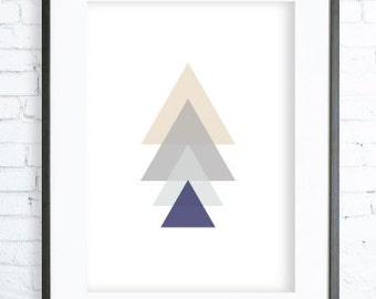 Christmas Printable art, Gray and Blue Triangles Tree, Print Art,  modern art, digital art, Print, tree art, tree print, Christmas Printable