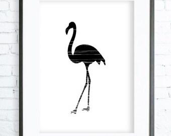 Instant Download Printable, Black Flamingo Print Art,  modern art, digital art, Print,Black and White, Flamingo art, Flamingo print