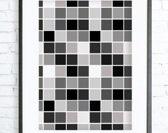 Black and White Squares, Instant Download Printable, Print Art, modern art, Squares print,Squares Printable