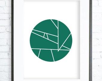 Geometric Green Circle - Circle Art - Print Art - Modern Art Print - Digital Art - Instant Download Printable