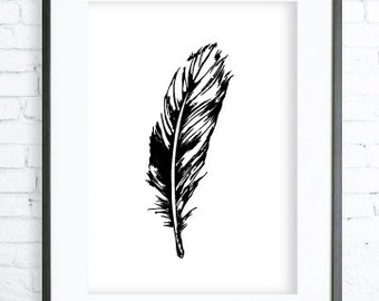 Black feather , Feather print Art,Feather, Printable Feather,  Feather Art, Feather Wall Decor, Black Feather Print