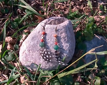 Carnelian, Jade, Bronze, and Guinea Hen Feather Earrings