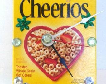 Recycled/Repurposed Mini Cheerios Box Clock, Upcycled, Cereal Box Clock, Functional Art, , Cheerios, Made By Mod.