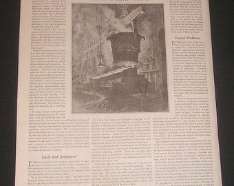 1921 The Importance of Management by Albert W. Atwood Art Illustration of Steel Mill by Herbert Pullinger Artist Vintage Magazine Article