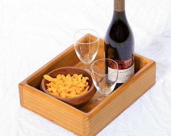 Wooden Serving Tray with Raised Sides