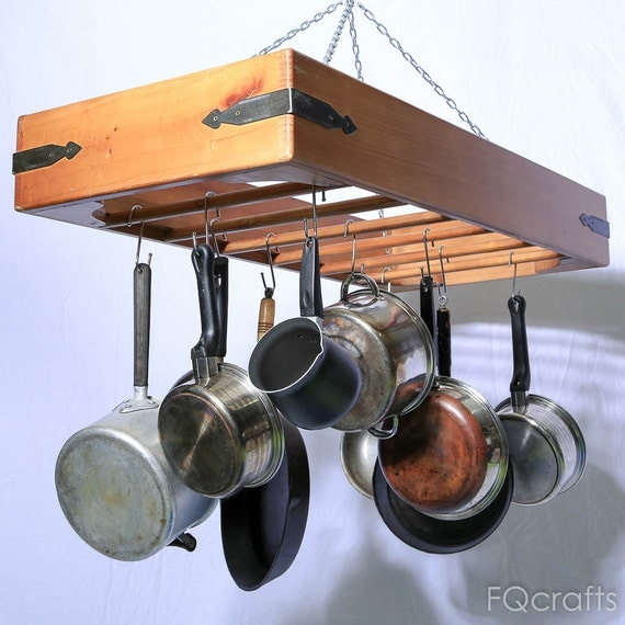 Large Wooden Hanging Pot Rack store pots pans and by fqcrafts