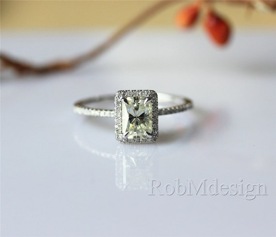 Stackable Halo Diamond Moissanite Engagement Ring VS by ...
