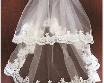 High quality handmade wedding veil white veil Bridal veil  two tiers lace ivory veil romantic veil with comb