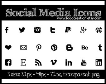 Social media Icons, black, instant download buttons