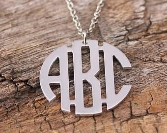Personalized Circle Monogram Necklace - Initila Monogarm Necklace - 3 Initials Name Jewelry