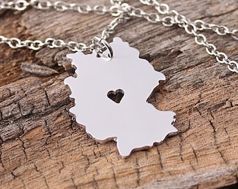 I heart Germany Necklace - Germany Pendant - Germany Map Charm - Germany Map necklace - Map Jewelry