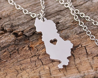 I heart Albania Necklace - Albania Pendant - Albania Map Charm - Albania Map necklace - Map Jewelry
