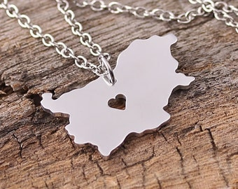 I heart Bulgaria Necklace - Bulgaria Pendant - Bulgaria Map Charm - Bulgaria Map necklace - Map Jewelry